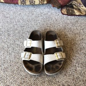 Birkenstock White iredscent Arizona strappy sandal
